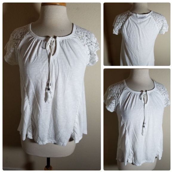 Absolutely Famous Tops - Absolutely Famous White Lace Sleeve Blouse Top